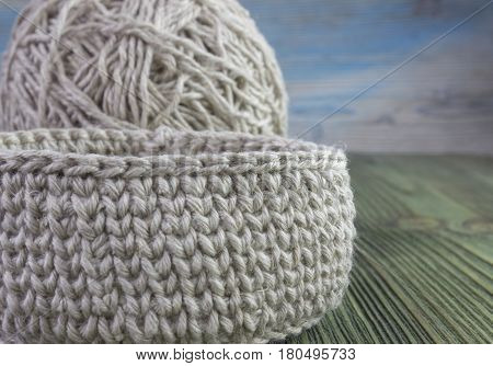 Linen rustic crochet box and yarn ball. Natural crochet textile tutorial pattern. Thick ribbon cotton yarn