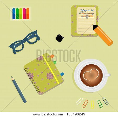 Stationery: A day planner spiral-bound with the cute purple flowers and polka dots. A tab. The glasses. A pencil. Clips. A marker. To do list. A cup of coffee with a heart. Vector illustration