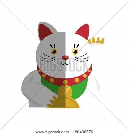 japanese cat lucky icon vector illustration design