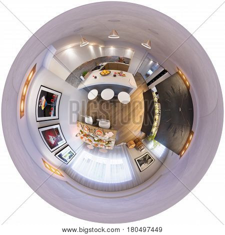 3d illustration spherical 360 degrees, seamless panorama of kitchen and dining room interior design. The kitchen and dining room in a modren style with fireplace. Tiny little planet