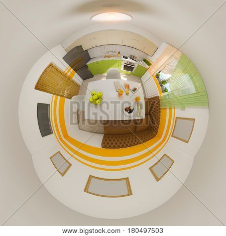3d illustration spherical 360 degrees, seamless panorama of kitchen interior design. Modern studio apartment in the Scandinavian minimalist style. Tiny little world