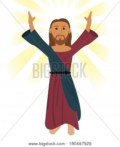 jesus christ pray religious symbol vector illustration eps 10