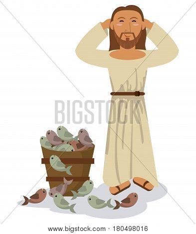 jesus christ miracle multiplication fish symbol vector illustration eps 10