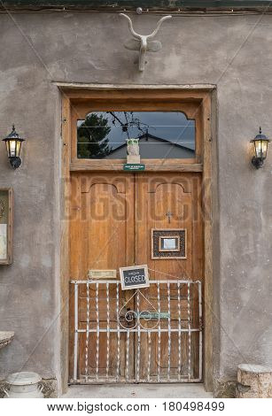 NIEU BETHESDA SOUTH AFRICA - MARCH 21 2017: Entrance to a restaurant building in Nieu-Bethesda an historic village in the Eastern Cape Province