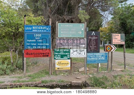 NIEU BETHESDA SOUTH AFRICA - MARCH 21 2017: Signboards at a street corner in Nieu-Bethesda an historic village in the Eastern Cape Province