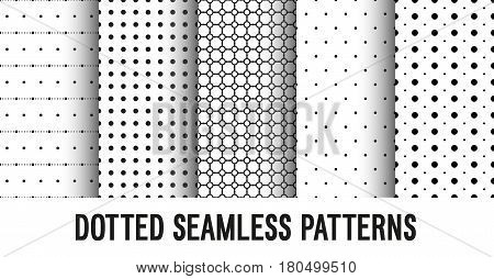 Dotted seamless creative patterns collection. Vector illustration.