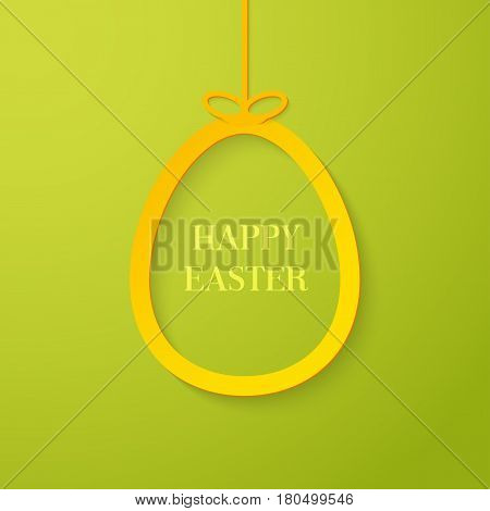 Easter creative greeting card with hanging paper egg. Vector illustration.
