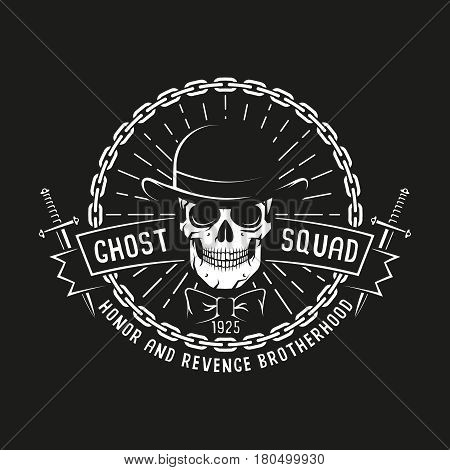 Vintage bandit logo with skull in bowler hat daggers ribbon chain and sunburst on a black background. Vector illustration.