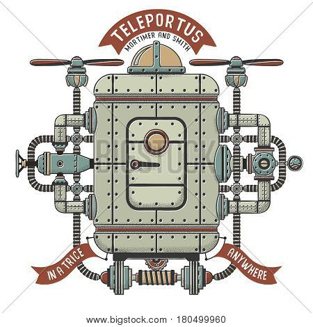 Steampunk fantastic machine for teleportation. Apparatus interweaving with pipes cables devices. Shadow outline color on separate layers.