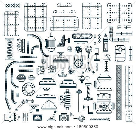 A set of monochrome steampunk spare parts for creating a robot machine device or apparatus. Vector illustration.