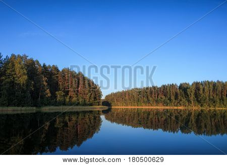 Summer landscape with quiet forest lake in the evening light