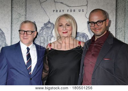 LOS ANGELES - APR 4:  Tom Perotta, Mimi Leder, Damon Lindelof at the Premiere Of HBO's