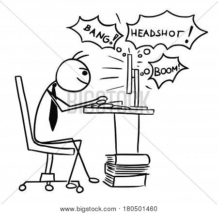Cartoon vector doodle stickman playing video game on computer screen during work job