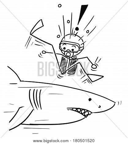 Cartoon vector stickman scuba diver meet large dangerous shark unexpectedly