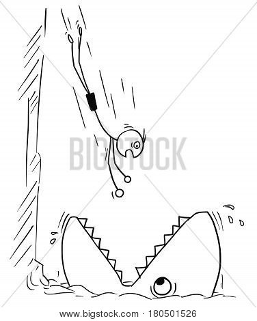 Cartoon vector stickman man jumping in water from high rock but jumping in large fish or shark mouth instead