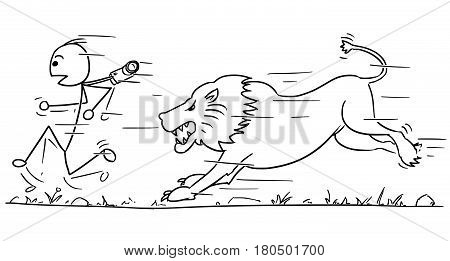 Cartoon vector stick man male tourist is running away from male lion pursuing him