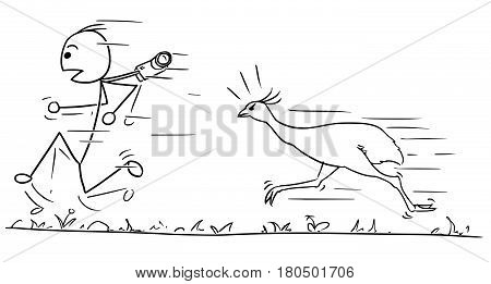 Cartoon vector stickman man is running away fast hunted by angry ostrich bird
