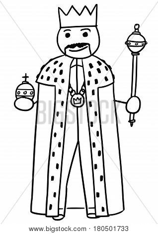 Cartoon vector stickman medieval king is posing in robe gown with royal crown scepter and apple