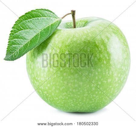 Ripe green apple fruit on the white background.