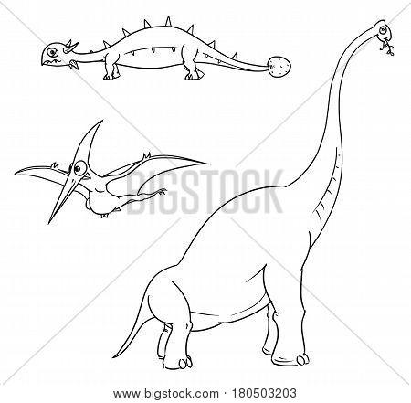 Vector Cartoon Set 01 of ancient dinosaur monster - ankylosaurus brachiosaurus pterodactylus