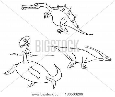 Vector Cartoon Set 02 of ancient dinosaur monster - plesiosaursCharonosaurus/ParasaurolophusSpinosaurus