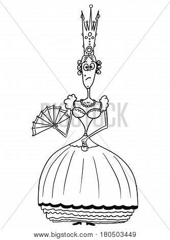 Cartoon vector fantasy medieval queen monarch female sovereign with crown fan and handbag