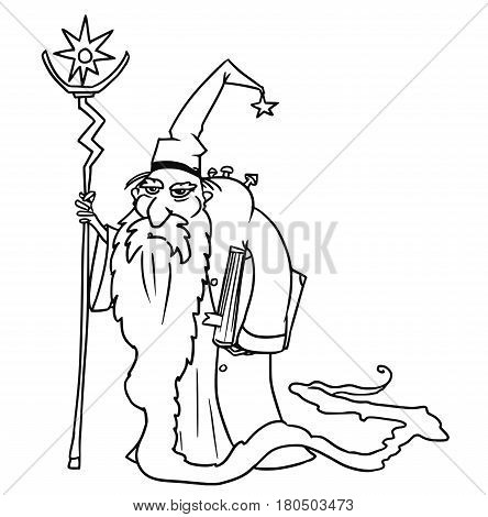 Cartoon vector old fantasy medieval wizard sorcerer or royal adviser with book staff and full-beard