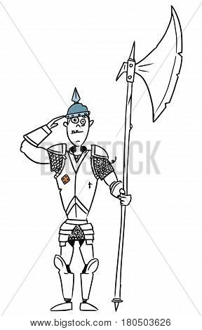 Cartoon vector old fantasy medieval knight royal guard soldier with armor and halberd axe