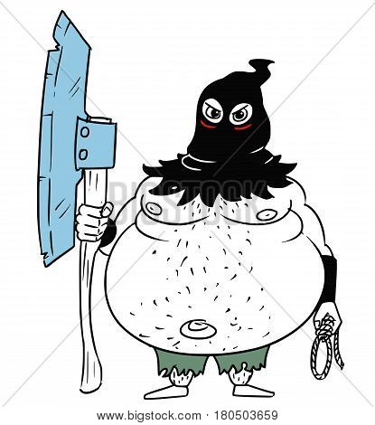 Cartoon vector fantasy medieval executioner hangman headsman with large axe rope and black hood