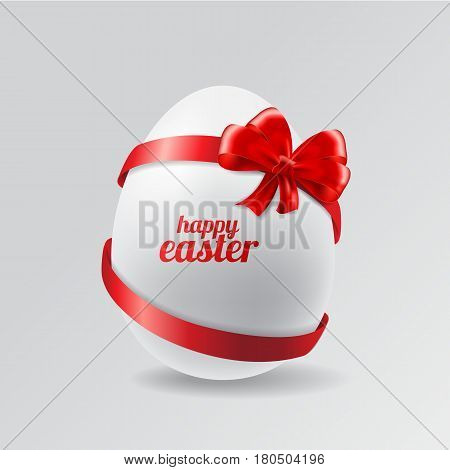 Stock Vector Easter egg with ribbons and bow
