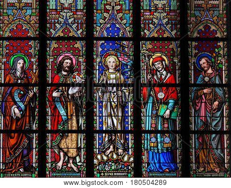 Saints Colette, John The Baptist, Emmanuel, Carolus Borromeus And Joseph