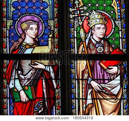Stained Glass - Saint Isabelle Of France And Pope Saint Leo The Great