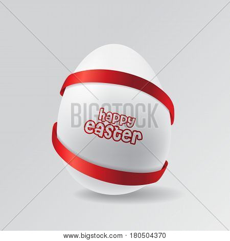 Stock Vector Easter egg with red ribbons
