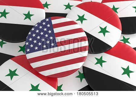 Syrian Civil War Concept Badges: USA And Syria Flag Buttons 3d illustration