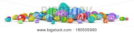 Pile of colorful Easter eggs - 3d render