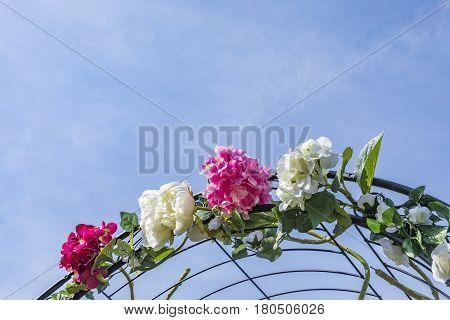 flowers on a wedding gate under blue sky