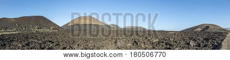 Volcanos In Timanfaya National Park Near Mancha Blanca