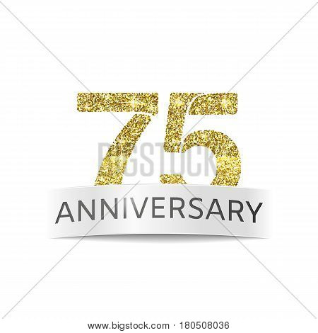 Seventy-five anniversary. The flag of the 75th anniversary gold glitter color