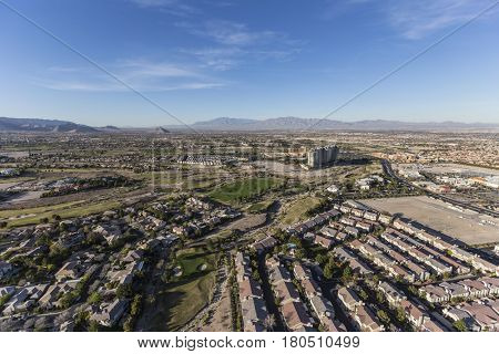Afternoon aerial view of the Summerlin area in Las Vegas, Nevada.