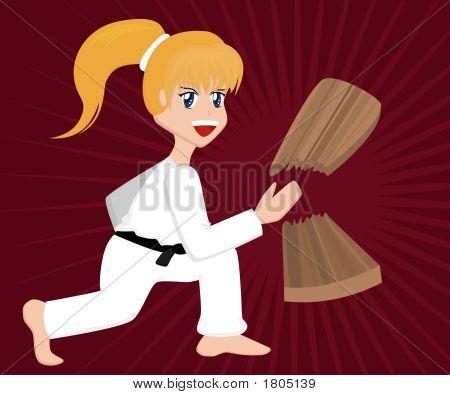 Cartoon Karate Girl