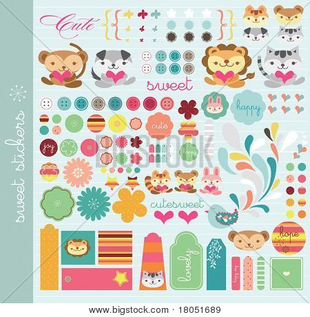 scrapbook elements with a lot of cute tags and stickers