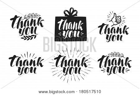 Thank You, label set. Handwritten beautiful writing. Lettering, calligraphy vector illustration isolated on white background