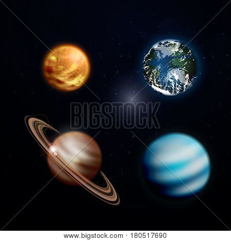 Planets realistic transparent set with Solar System planets vector illustration