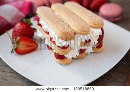 Ladyfinger biscuits and fresh strawberry