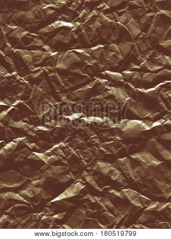 Abstract curve background with a texture of crumpled foil. Backdrop with crumpled brown material. Modern background of shiny paper sheet.