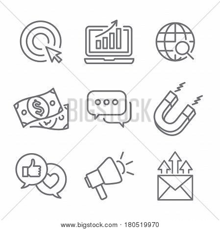Inbound Marketing Vector Icons With Growth, Roi, Call To Action, Seo, Lead Conversion, Social Media,