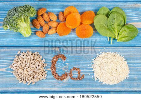 Ingredients Containing Calcium And Dietary Fiber, Concept Of Healthy Nutrition