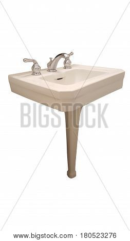Pedestal Sink White Shiny Clipping Path White Isolated