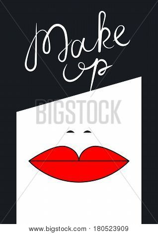 Business card beauty salon hairdresser makeup artist. Brunette with red lips. Vector illustration.