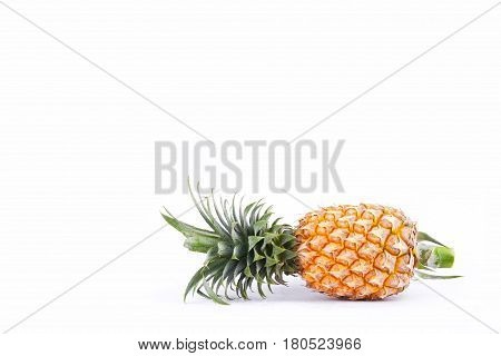 pineapple (Ananas comosus) on white background healthy pineapple fruit food isolated